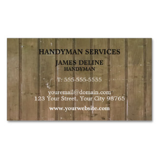 Simple Wooden Plank Handyman Magnetic Magnetic Business Card