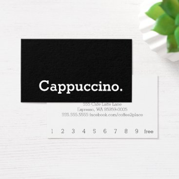 coffeepunch Simple Word Dark Loyalty Cappuccino Punch-Card Business Card