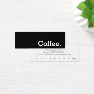Simple Word Dark Loyalty Coffee Punch-Card Mini Business Card