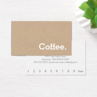 Simple Word Minima Loyalty Coffee Punch-Card Craft Business Card