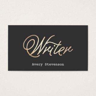 Simple Writer Gold Handwritten Script Font Black Business Card