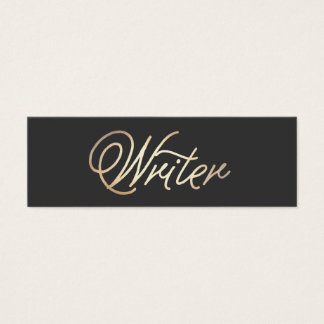 Simple Writer Gold Handwritten Script Font Black Mini Business Card