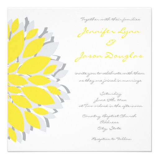 Simple yellow and gray flowers wedding invitations 525 for Minimalist floral wedding invitations