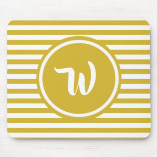 Simple Yellow and White Stripes Striped Initials Mouse Pad