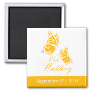 Simple Yellow Butterfly Wedding Announcement 2 Inch Square Magnet