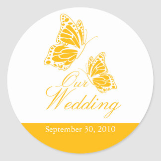 Simple Yellow Butterfly Wedding Announcement Classic Round Sticker