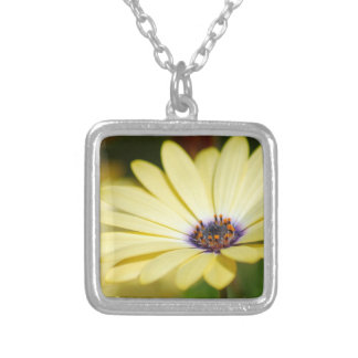 Simple Yellow Floral Silver Plated Necklace