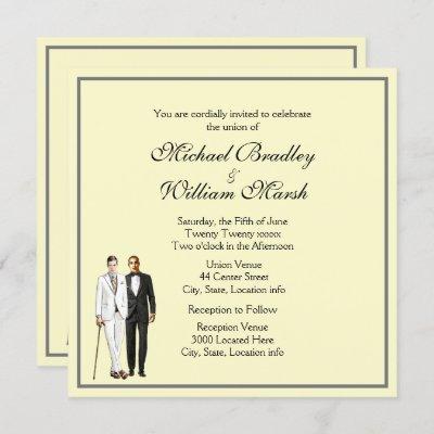 Simple Yellow Groom and Groom Gay Wedding Invite