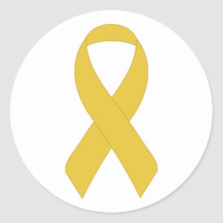 Simple Yellow Ribbon Round Stickers