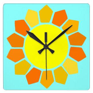 Simple Yellow Sun Square Wall Clock