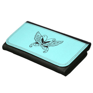 SIMPLE YET BEAUTIFUL BUTTERFLY ON AQUA BL. LEATHER LEATHER WALLET