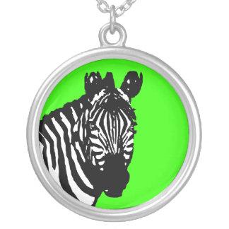 simple zebra round pendant necklace