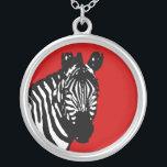 "simple zebra silver plated necklace<br><div class=""desc""></div>"