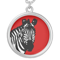 simple zebra silver plated necklace