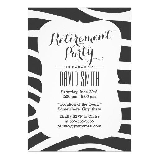 Simple Zebra Stripes Retirement Party Personalized Invites