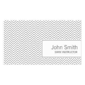 Simple Zigzag Swim Instructor Business Card