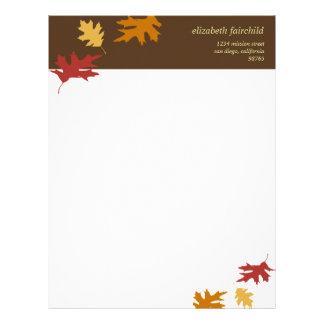 Simplemente la caída deja a otoño tema marrón de l membretes personalizados