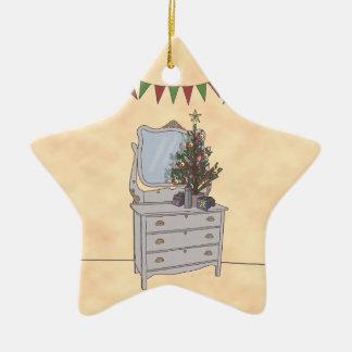 Simplemente navidad, ornamento adorno de cerámica en forma de estrella