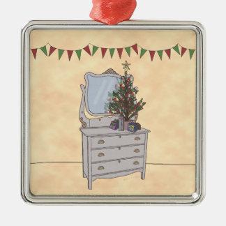 Simplemente navidad, ornamento adorno cuadrado plateado