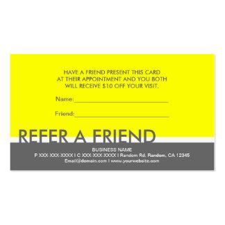 Simples grises amarillos refieren tarjetas de enca tarjetas de visita
