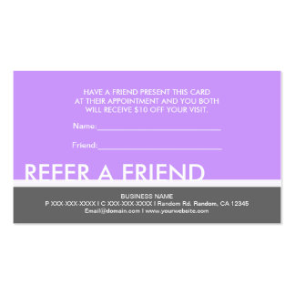 Simples grises púrpuras refieren tarjetas de tarjetas de visita
