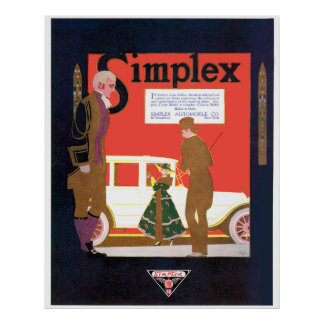 Simplex Crane 6 Cylinder Classic Car Poster