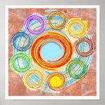 Simplicidad: Círculos, Chakra, ondas, bosquejo Poster