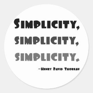 Simplicidad Pegatina Redonda