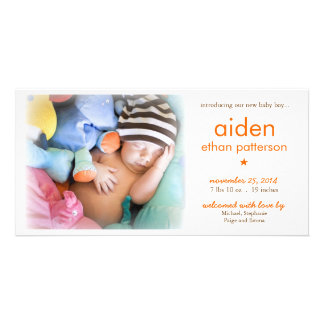 Simplicity Baby Boy Photo Birth Announcement Photo Card Template