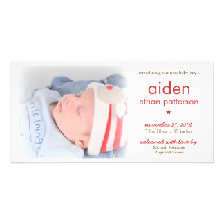 Simplicity Baby Boy Photo Birth Announcement | Red