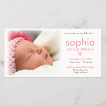 Simplicity Baby Girl Photo Birth Announcement