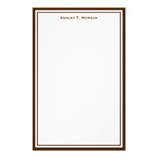 Simplicity Brown White Personalized Stationery
