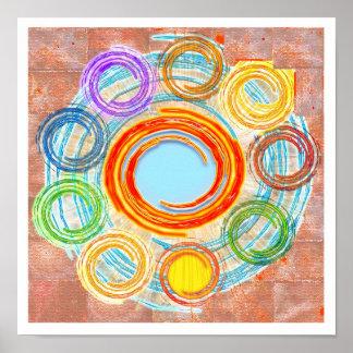 Simplicity : Circles, Chakra, Waves, Sketch Poster