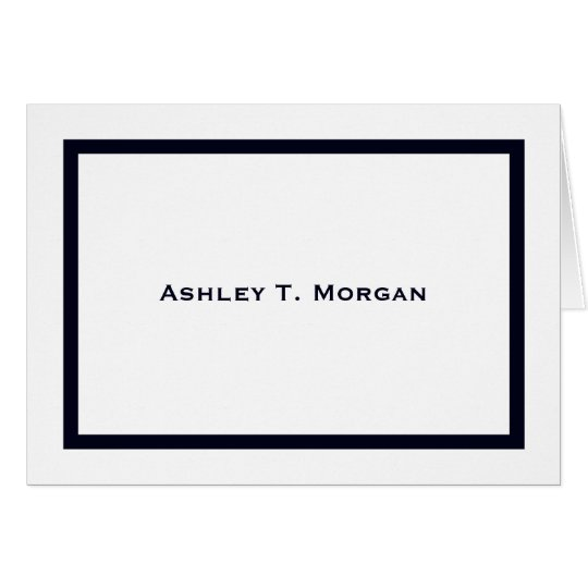 Simplicity: Dark Blue Band Personalized Note Cards