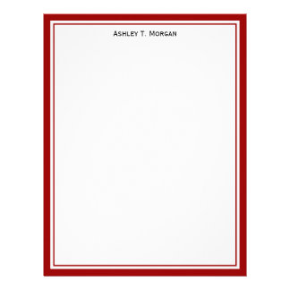 Simplicity Deep Red White Personalized Letterhead