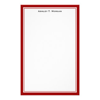 Simplicity Deep Red White Personalized Stationery