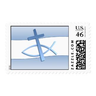 Simplicity Design Blue Christian Symbols Postage
