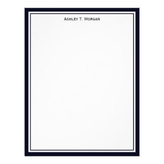Simplicity Dk Blue / White Personalized Letterhead