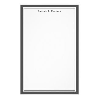 Simplicity Dk Gray / White Personalized Stationery
