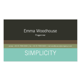 Simplicity Green & Teal Double-Sided Standard Business Cards (Pack Of 100)