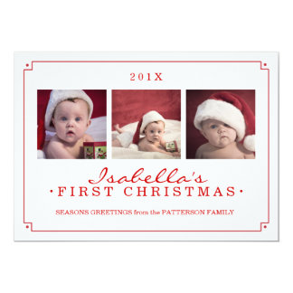 Simplicity in Red Baby's 1st Christmas Photo Card