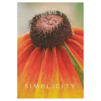Simplicity Orange Wildflower 29x19 Inspirational Wood Poster