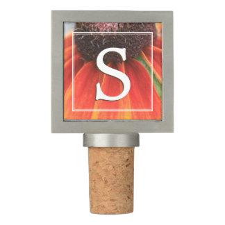 Simplicity Orange Wildflower Monogram Personalized Wine Stopper