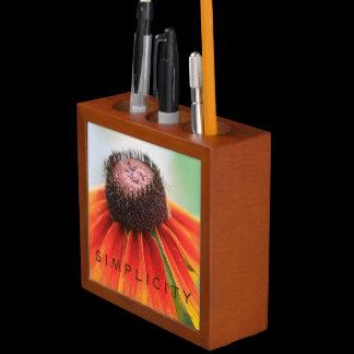 Simplicity Orange Wildflower Pencil Cup / Desk Organizer