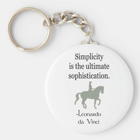 Simplicity Quote With Dressage Horse Keychain