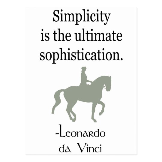 Simplicity Quote With Dressage Horse Postcard