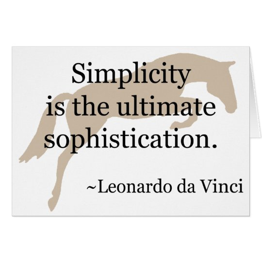 Simplicity Quote With Jumper Horse Card