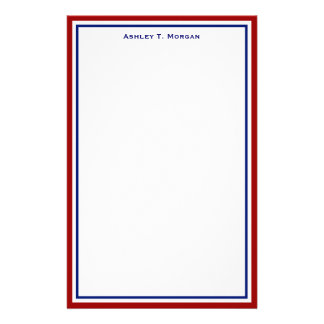 Simplicity Red White Blue Personalized Stationery