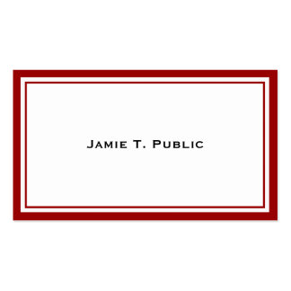Simplicity: Red & White Frame, White Background Business Card Template