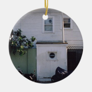 Simplicity Themed, Simple White House With Linus S Double-Sided Ceramic Round Christmas Ornament